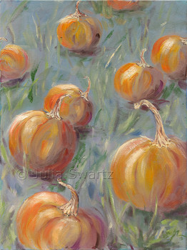 An impressionistic landscape oil painting of Pumpkins in a field by Julia Swartz, Lancaster PA