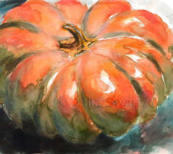 This watercolor still life fills the scene with a bright orange pumpkin