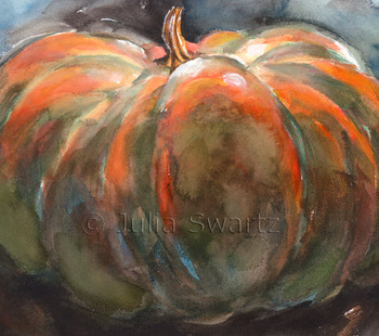 The second in her watercolor still life paintings of pumpkins by Julia Swartz