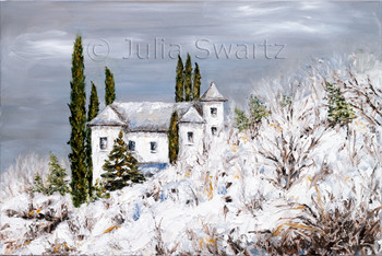 An Arizona landscape of a snow covered house on the side of a hill by Julia Swartz