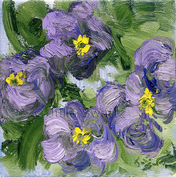 A close up impressionism oil painting of Purple Primrose by Julia Swartz Lancaster PA