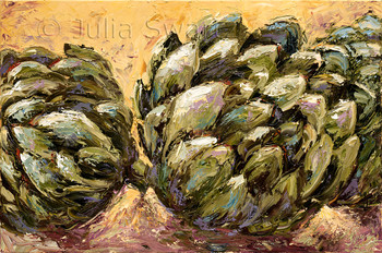 This large painting of artichokes is part of an ongoing series of paintings of fruits and vegetables by Julia Swartz.