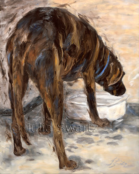 A chocolate lab drinking water oil painting by Julia Swartz.