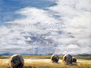 A landscape painting in oil on canvas of big round hay bales under a big sky and rain on the horizon by Julia Swartz.