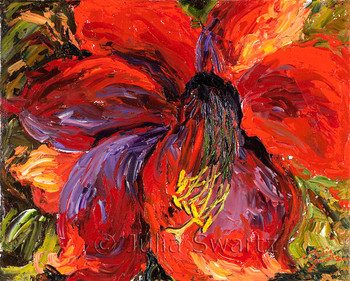 A Red Amaryllis flower painted closeup with oil on canvas by Julia Swartz.