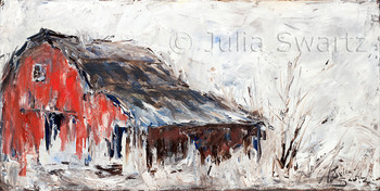 A landscape oil painting of an old Red Barn with snow around by Julia Swartz, Lancaster PA