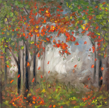 An impressionist oil painting of Red leaves falling from a tree in the fall by Julia Swartz, Lancaster PA