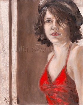 This is a portrait of Leah, a friend who has been a frequent subject of Julia's portraits.
