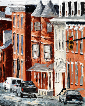 An oil painting of beautiful downtown Lancaster architecture by Julia Swartz