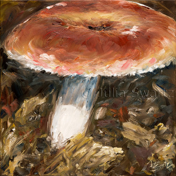 A close up view of a mushroom painted with oil on canvas by Julia Swartz.