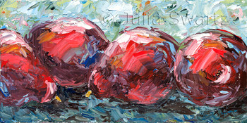 A still life fruit oil painting on canvas of Red Pears by Julia Swartz, Lancaster PA.