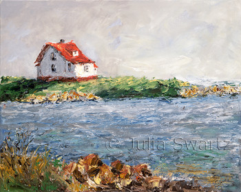 An impressionist oil painting of a little white house with a red roof of the coast of Booth bay Maine by Julia Swartz Lancaster PA
