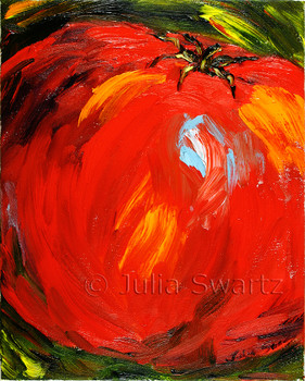 A Red tomato oil painting by Julia Swartz.