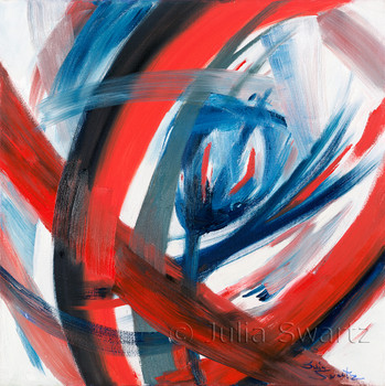An abstract oil painting, Red Wine, by Julia Swartz, Lancaster PA