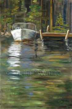 An oil painting of a old boat tied to a dock in Canada. In the foreground you see the boat reflections in the water and a Canadian woods in the background. Painted by Julia Swartz Lancaster PA