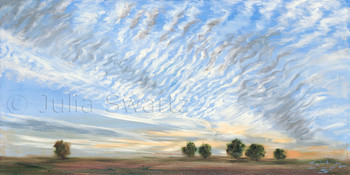 Original oil painting of a sky landscape by Julia Swartz, gallery, Lancaster PA.