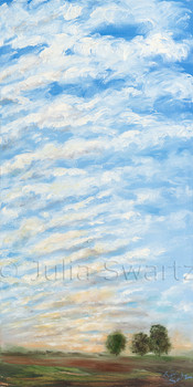 A landscape oil painting of ripples of clouds at sunset. Ripples III by Julia Swartz, gallery, Lancaster PA.