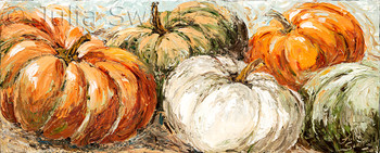 An impressionistic oil painting of a row of five pumpkins painted with palette knife by Julia Swartz.
