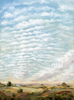 A landscape oil painting of ripples of clouds at sunset by Julia Swartz.