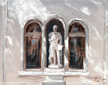 A statue of Robert Fulton standing in the second floor window of the Fulton Theatre painted in oil on canvas by Julia Swartz