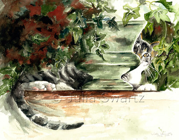 A watercolor painting of a cat hiding behind a flower pot by artist Julia Swartz