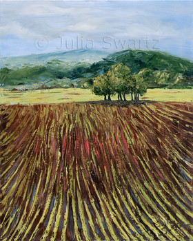 Crop rows in a farmers field with rolling hills in the background. A landscape oil painting on canvas by Julia Swartz.