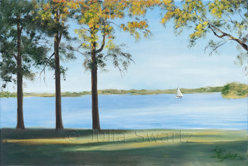 Original Oil paintings of a Sailboat on the Sassafras river at the Chesapeake Bay by Julia Swartz Lancaster PA