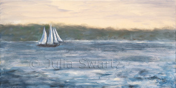 An oil painting of a Schooner off the coast of Booth-bay Maine by Julia Swartz
