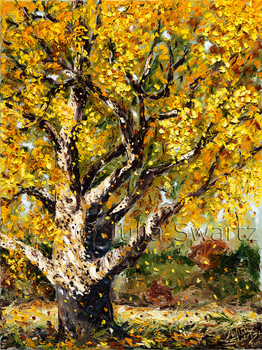 An Original Landscape Oil paintings by Julia Swartz of a Beech Tree in the fall when the leaves are turning color.