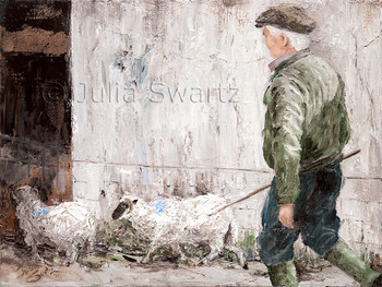 Several sheep are herded into the auction sale barn by a local Irishman in Ireland. Painted by Julia Swartz.