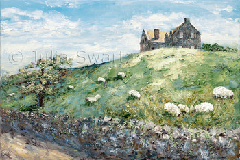 A irish house on a hill with sheep grazing in the meadow and a stone wall lining the country road. A landscape oil painting on canvas by Julia Swartz.