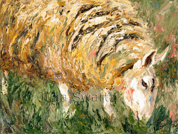 A close up impressionistic oil painting of a sheep by Julia Swartz Lancaster PA
