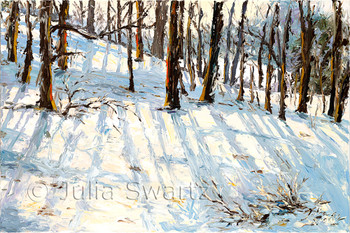 An oil painting of the sun shining through the trees in the winter with snow on the ground