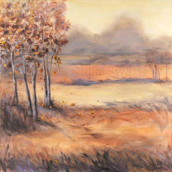 An Autumn Landscape Oil Painting of fall trees and fields by Julia Swartz Lancaster PA