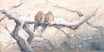 Two Doves sitting close to each other on the branch of tree in a snowstorm. The snow is actually piled up around them and when the leave, you can see the hollow spot where they were sitting. An oil painting on canvas by Julia Swartz.
