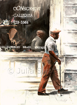 A watercolor painting of an elderly black gentleman with a cane walking in front of a Consignment shop in Charleston SC by Julia Swartz.