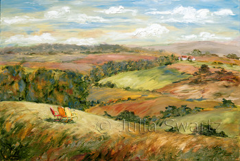 A landscape oil painting of three antique metal chairs situated on a hillside with a view by Julia Swartz.
