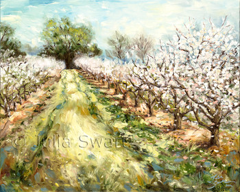 A landscape painting of a Peach orchard in bloom by Julia Swartz