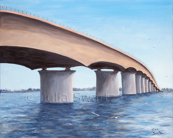 St Armands Bridge in Sarasota FL painted with oil on canvas by Julia Swartz.