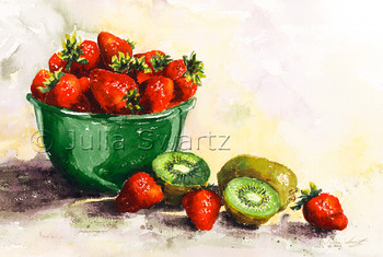 A watercolor painting of Strawberries and kiwi in a green bow by Julia Swartz.