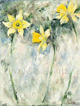 An impressionist oil painting of three yellow daffodils by Julia Swartz, Lancaster PA.