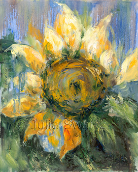 An impressionistic oil painting of Sunflowers, version 2, by Julia Swartz, Lancaster PA
