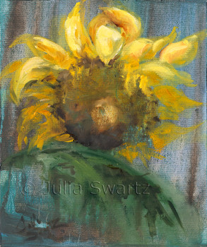 An impressionistic oil painting of Sunflowers, version 3, by Julia Swartz, Lancaster PA