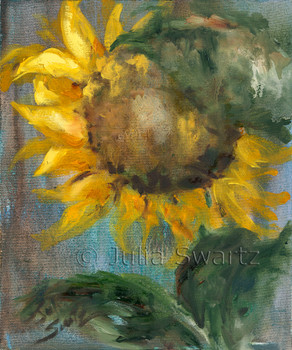 An impressionistic oil painting of Sunflowers, version 4, by Julia Swartz, Lancaster PA