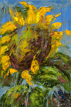 An impressionistic oil painting of Sunflowers, version 5, by Julia Swartz, Lancaster PA