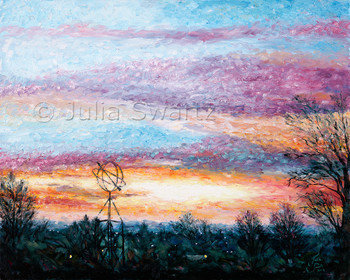 A beautiful sunrise oil painting by Julia Swartz.