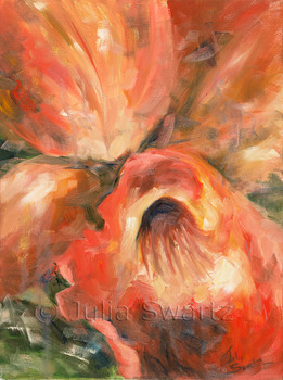 A close up impressionistic oil painting of an orange Orchid Flower by Julia Swartz, Lancaster PA.