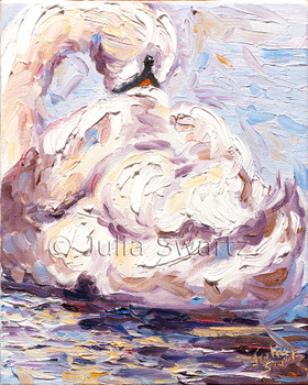 The second in Julia's palette knife oil paintings of swans at the park,
