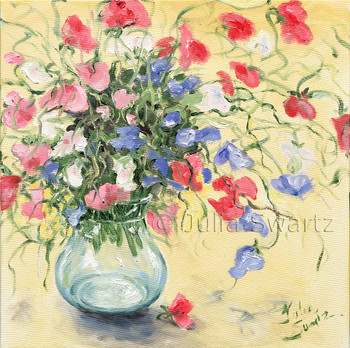 Red, Pink, Blue and white sweet pea flowers in a glass vase painted in oil by Julia Swartz.