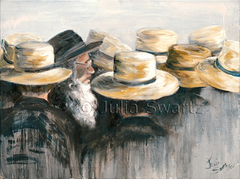 An oil painting of a group of Amish at a auction in Lancaster county PA.